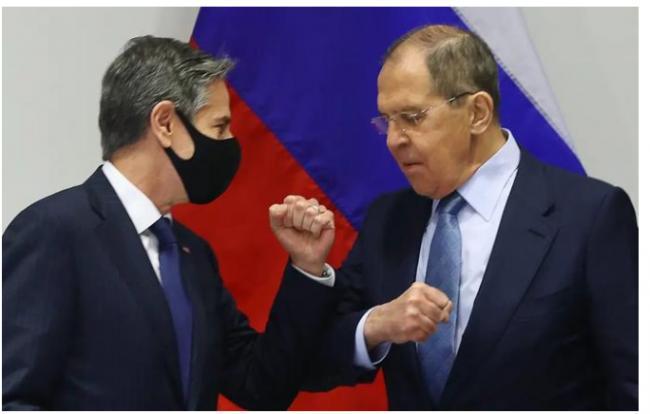美国外长布林肯和俄罗斯外长拉夫罗夫